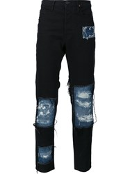 Vivienne Westwood Anglomania Distressed Patchwork Skinny Jeans Black