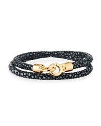 Brace Humanity Men's Stingray Wrap Bracelet Black Golden