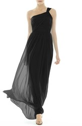 Women's Alfred Sung One Shoulder Shirred Chiffon Gown Black