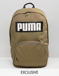 Puma Exclusive To Asos Logo Backpack In Khaki Khaki Green