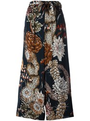 Just Cavalli Patterned Flared Trousers Blue