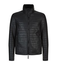 Emporio Armani Leather Shearling Jacket Black