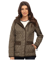 Vince Camuto Quilted Jacket With Wool Trim J1501 Pale Olive Women's Coat