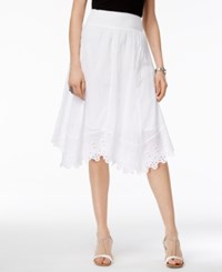 Style And Co Petite Cotton Handkerchief Hem Eyelet Midi Skirt Only At Macy's Bright White