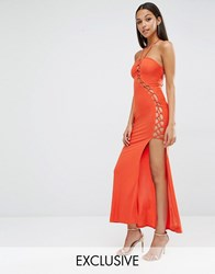 Club L Sexy Dare Maxi Dress With Lattice Detail Cherry Tomato Red