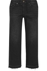 Simon Miller Bora Cropped Frayed Wide Leg Jeans Black