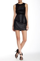 Sugarlips Untamed Faux Leather Peplum Dress Black