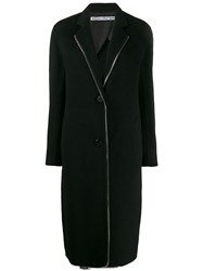 Alexander Wang Exposed Zip Midi Coat Black