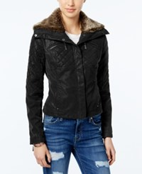 Joujou Jou Jou Faux Leather Bomber Jacket Black