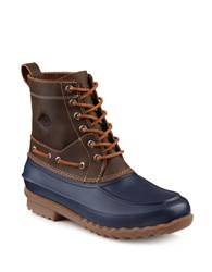 Sperry Round Toe Leather Boots Tan