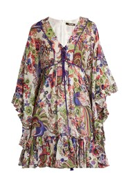 Roberto Cavalli Floral Print Ruffled Silk Dress White Multi