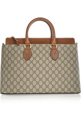 Gucci Linea A Medium Leather Trimmed Monogrammed Canvas Tote