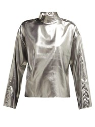 Hillier Bartley Dropped Shoulders Silk Top Silver