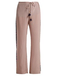 Figue Estella Floral Print Silk Trousers Pink Multi