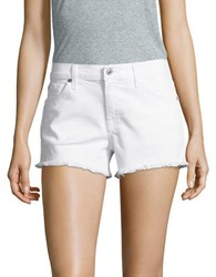 7 For All Mankind Fringe Trimmed Shorts Clean White
