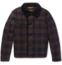 Tod's Shearling Lined Checked Wool Bomber Jacket Navy