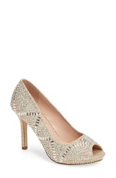 Lauren Lorraine Women's Paula Embellished Peep Toe Pump Nude Fabric