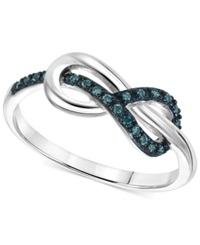 Macy's Blue Diamond Accent Knotted Infinity Ring In Sterling Silver