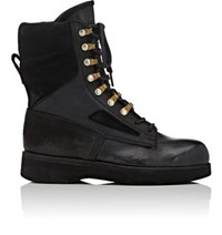 Sacai X Hender Scheme Women's Leather And Suede Lace Up Boots Black