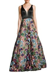 Basix Ii V Neck Butterfly Skirt Gown Black