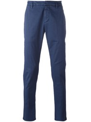 Dondup Printed Straight Trousers Blue
