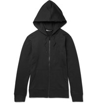 Y 3 Printed Loopback Cotton Jersey Zip Up Hoodie Black