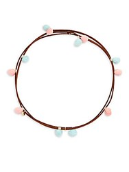 Ettika 18K Gold Plated And Vegan Suede Necklace Pink