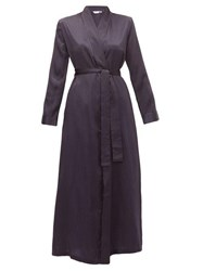Derek Rose Brindisi Polka Dot Silk Satin Robe Navy