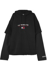 Vetements Tommy Hilfiger Layered Embroidered Cotton Jersey Hooded Top Black