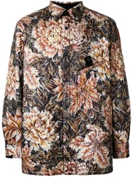 Y 3 Floral Camouflage Quilted Shirt Jacket Black