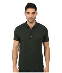 7 For All Mankind Raw Placket Polo Dark Emerald Men's Short Sleeve Pullover Green