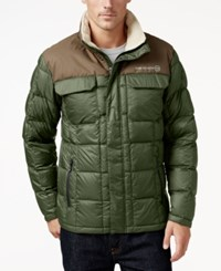 Free Country Men's Camo Puffer Down Jacket Olive Khaki
