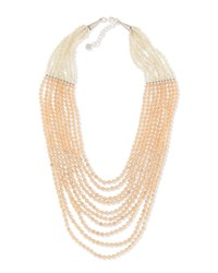 Nakamol Multi Strand Pastel Crystal Beaded Necklace Peach Neutral