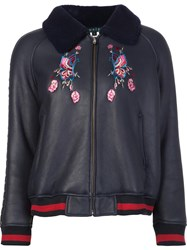Jocelyn Embroidered Bomber Jacket Blue