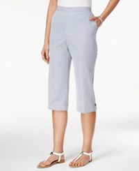 Alfred Dunner Petite Pinstriped Pull On Capri Pants Chambray