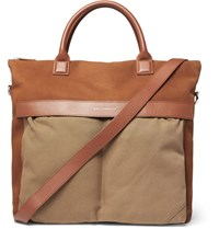 Want Les Essentiels O'hare Leather Trimmed Suede And Organic Cotton Canvas Tote Bag Tan