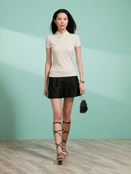 Shanghai Tang Cashmere Silk Short Sleeve Qipao Top Off White