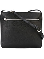 Salvatore Ferragamo Gancio Embossed Messenger Bag Black
