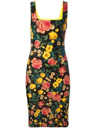 Fausto Puglisi Floral Print Fitted Dress Black