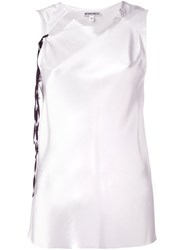 Ann Demeulemeester Blanche Sleeveless Collar Cutout Blouse White