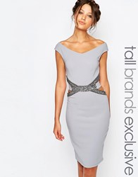 Little Mistress Tall Pencil Dress With Embellished Cutout Waist Detail Gray