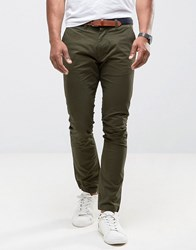 Selected Homme Slim Fit Chinos With Belt Green