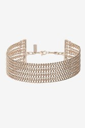Topshop Multi Row Chain Choker Necklace Rose Gold