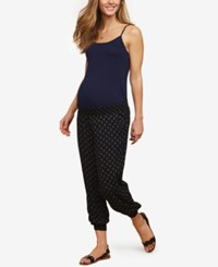 Motherhood Maternity Under Belly Jogger Pants Black Geo Print