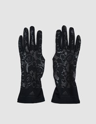 Adidas By Stella Mccartney Cold Weather Run Gloves Black Reflective Silver