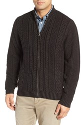Lenor Romano Men's Cable Knit Zip Cardigan