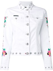 Philipp Plein Calla Denim Jacket Women Cotton Spandex Elastane M White