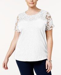 Charter Club Plus Size Cotton Lace Yoke Top Only At Macy's Bright White