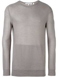 Helmut Lang Ribbed Sheer Pullover Grey