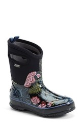 Women's Bogs 'Classic Winter Blooms' Mid High Waterproof Snow Boot With Cutout Handles Black Multi